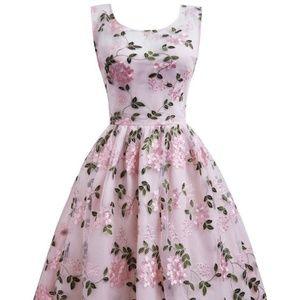 Dresses & Skirts - Floral Embroidered V Back Prom Dress